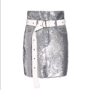 IRO Belted Sequined High-rise Mini Skirt
